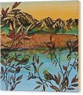 Sunrise On Willows Wood Print by Carolyn Doe