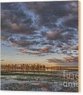 Sunrise On Yellowstone Lake Wood Print