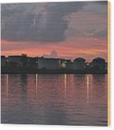 Sunrise Over Cape Fear River Wood Print