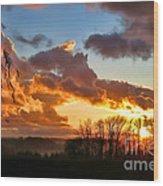 Sunrise Over Countryside Wood Print