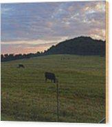 Sunrise Over Farm Wood Print