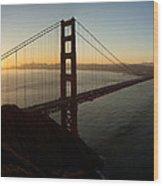 Sunrise Over Golden Gate Bridge And San Francisco Bay Wood Print