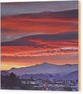 Sunrise Over Granada And The Alhambra Castle Wood Print