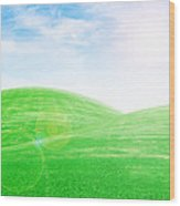 Sunrise Over Green Grass Hills Wood Print