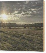 Sunrise Over Hayrolls Wood Print