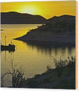 Sunrise Over Lake Pleasant Wood Print