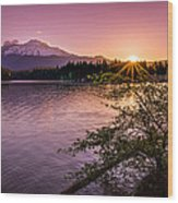 Sunrise Over Lake Siskiyou And Mt Shasta Wood Print by Scott McGuire
