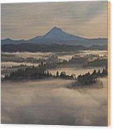 Sunrise Over Mount Hood And Sandy River Wood Print