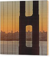 Sunrise Over San Francisco Bay Through Golden Gate Bridge Wood Print