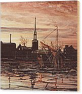 Sunrise Over St Marys Church And Rotherhithe London Wood Print