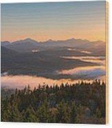 Sunrise Over The Adirondack High Peaks Wood Print