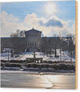 Sunrise Over The Art Museum In Winter Wood Print