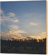 Sunrise Over The Cemetary Wood Print