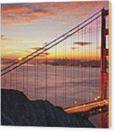 Sunrise Over The Golden Gate Bridge Wood Print