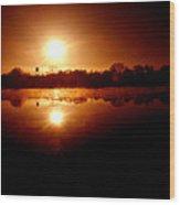 Sunrise Over The Lake Wood Print