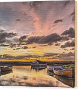 Sunrise Over The Old Salmon Boats Wood Print