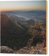 Sunrise Over The Town Of Smolyan Wood Print