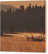 Sunrise Over The Yellowstone River Wood Print