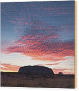 Sunrise Over Uluru Wood Print