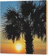 Sunrise  Palm Tree Wood Print