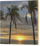 Sunrise Palms Wood Print