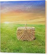 Sunrise Picnic Basket Wood Print