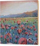 Sunrise Poppies Wood Print