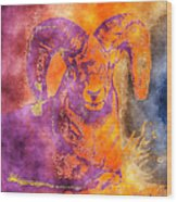 Sunrise Ram Water Color Wood Print