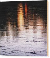 Sunrise Reflected On Icy Pond Wood Print