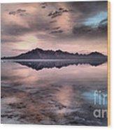 Sunrise Reflection At Salt Flats Wood Print