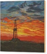 Sunrise Rig Wood Print by Karen  Peterson