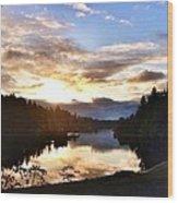 Sunrise River Mirror Wood Print