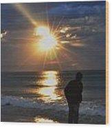 Sunrise Run On The Beach Wood Print