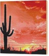 Sunrise Saguaro National Park Wood Print