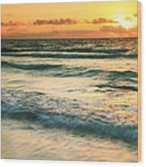 Sunrise Seascape Tulum Mexico Wood Print
