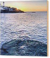 Sunrise Starburst Over Nubble Lighthouse  Wood Print by Thomas Schoeller