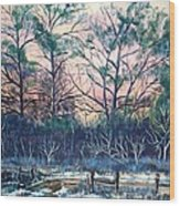 Sunrise Stillness Wood Print by Jean Ann Curry Hess