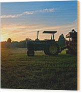 Sunrise Tractor Wood Print