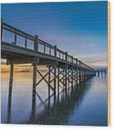 Sunrise Under The Boardwalk Wood Print