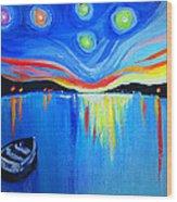 Sunrise At The Lake - Van Gogh Style Wood Print