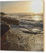 Sunrise Waves On The Rocks By Kaye Menner Wood Print