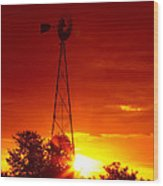 Sunrise Windmill 1 A Wood Print