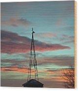 Sunrise Windmill Wood Print