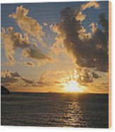 Sunrise With Clouds St. Martin Wood Print