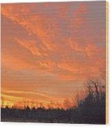 Sunrise With Horses Wood Print