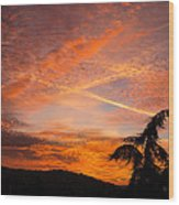 Sunrise With Orange And Red Clouds In The Sky Wood Print