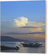 Sunrise With Outrigger Boats Wood Print