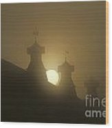 Sunrise With Silhouetted Cupolas On Barn Wood Print
