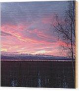 Sunrise With Tree Wood Print