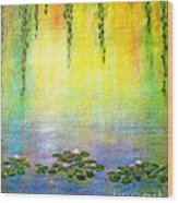 Sunrise With Water Lilies Wood Print